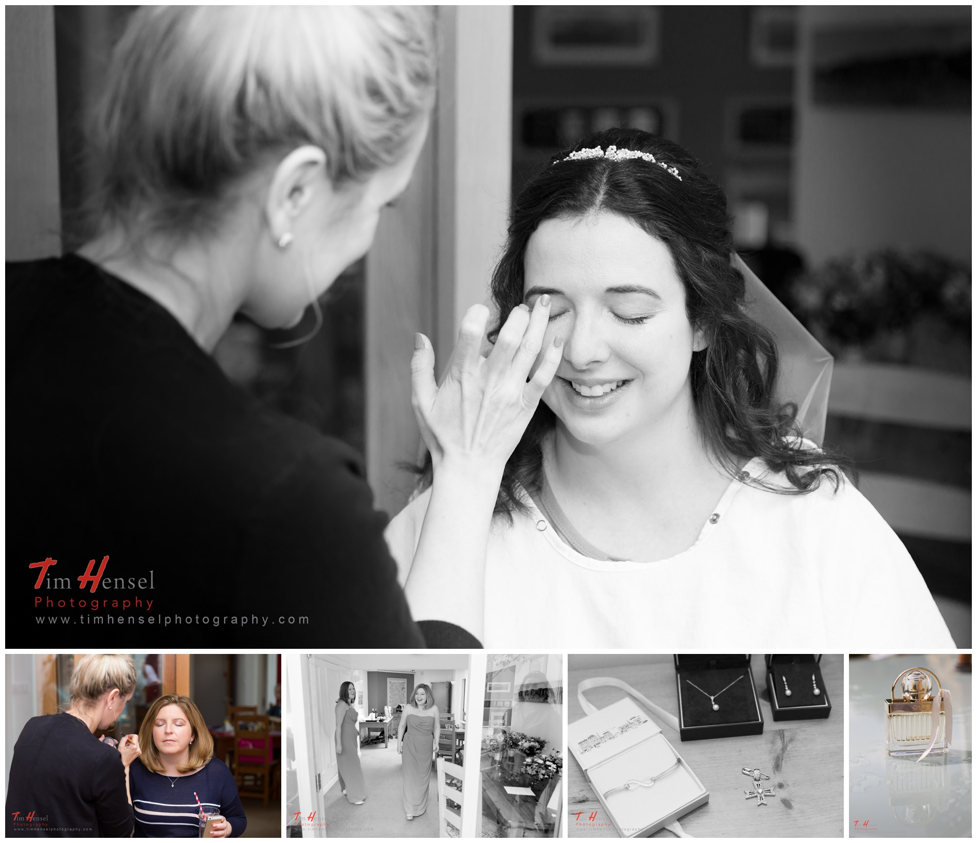 bridal makeup being applied in preparation for the wedding