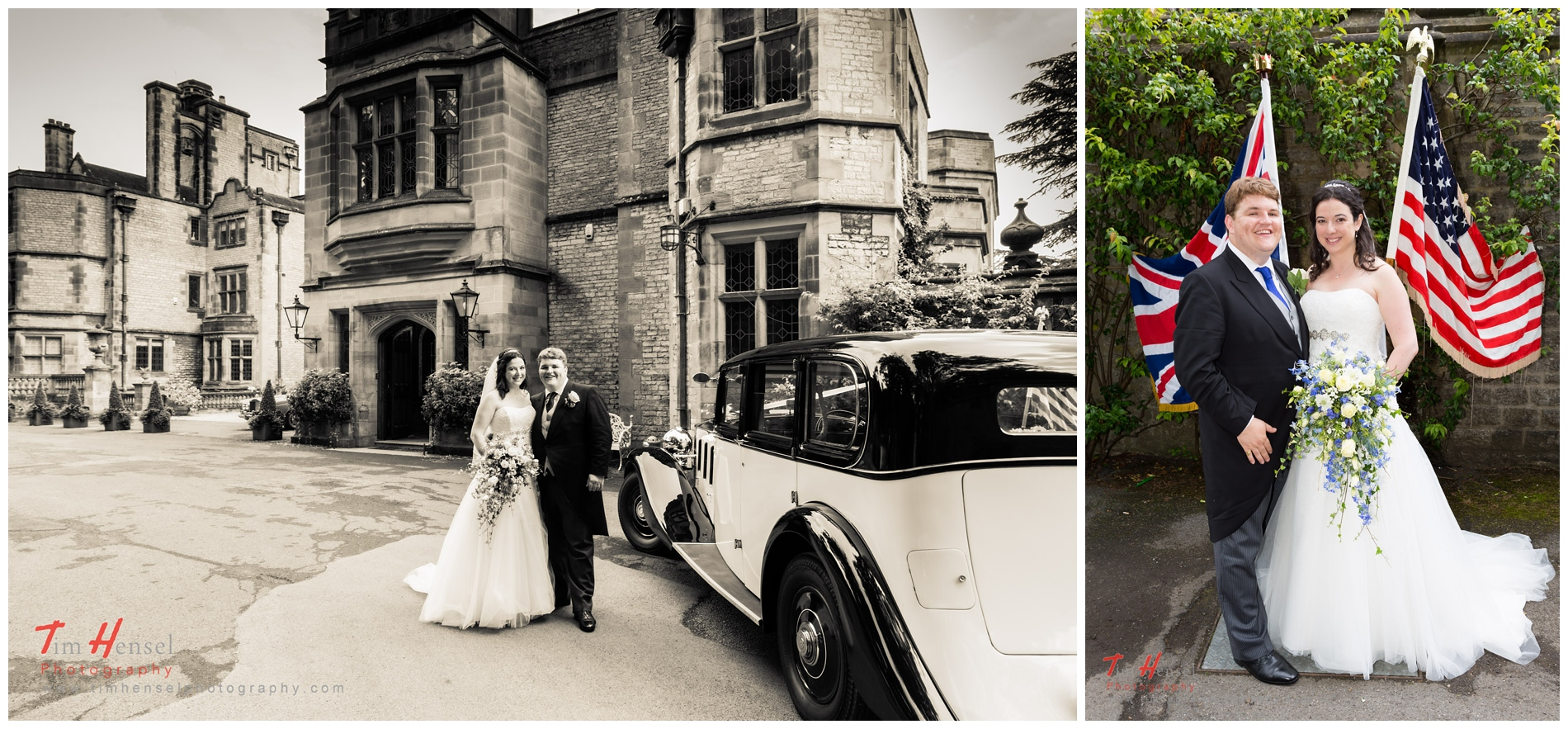 wedding photography arriving at thornbridge hall in derbyshire