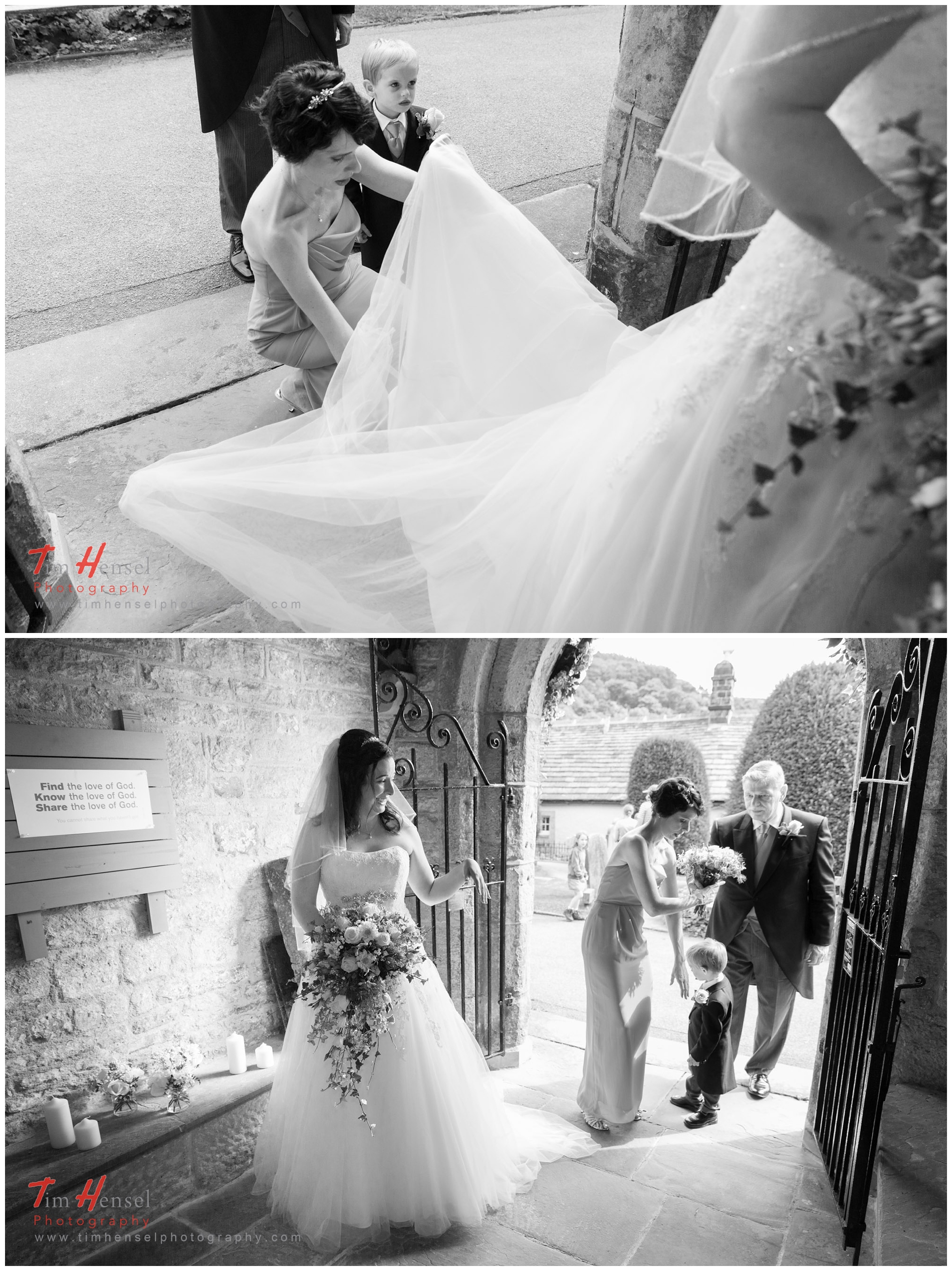 wedding photography in derbyshire - the bride just before going into st michael & all angels church, hathersage