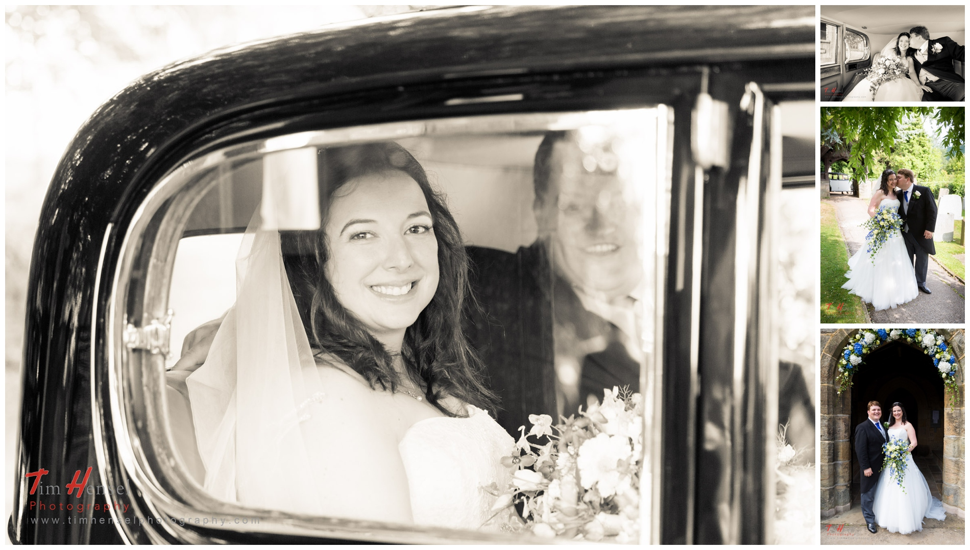 the bride and groom get back in the car to leave the church in hathersage