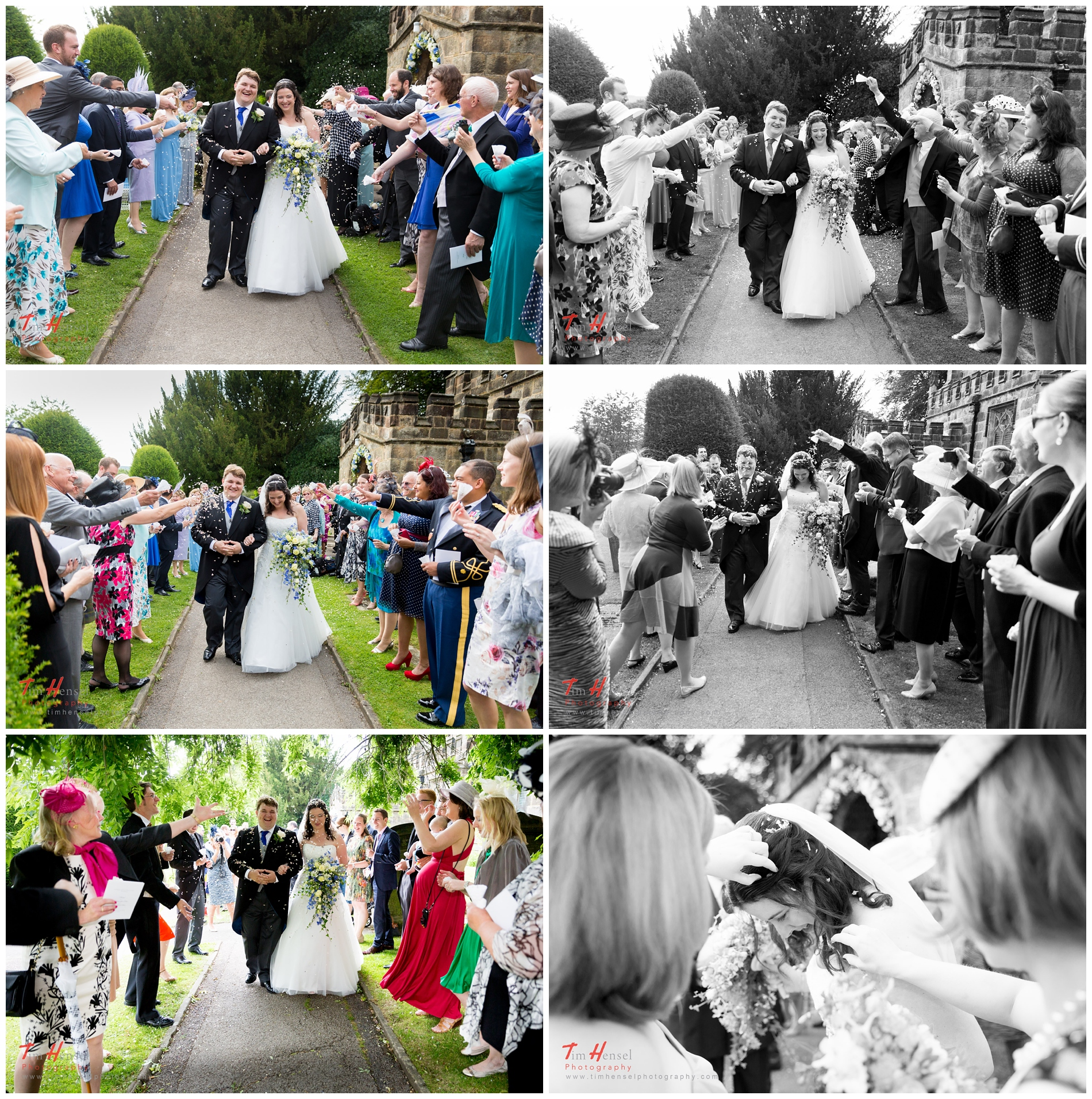 relaxed wedding photography during the confetti at st michael & all angels church in hathersage, derbyshire