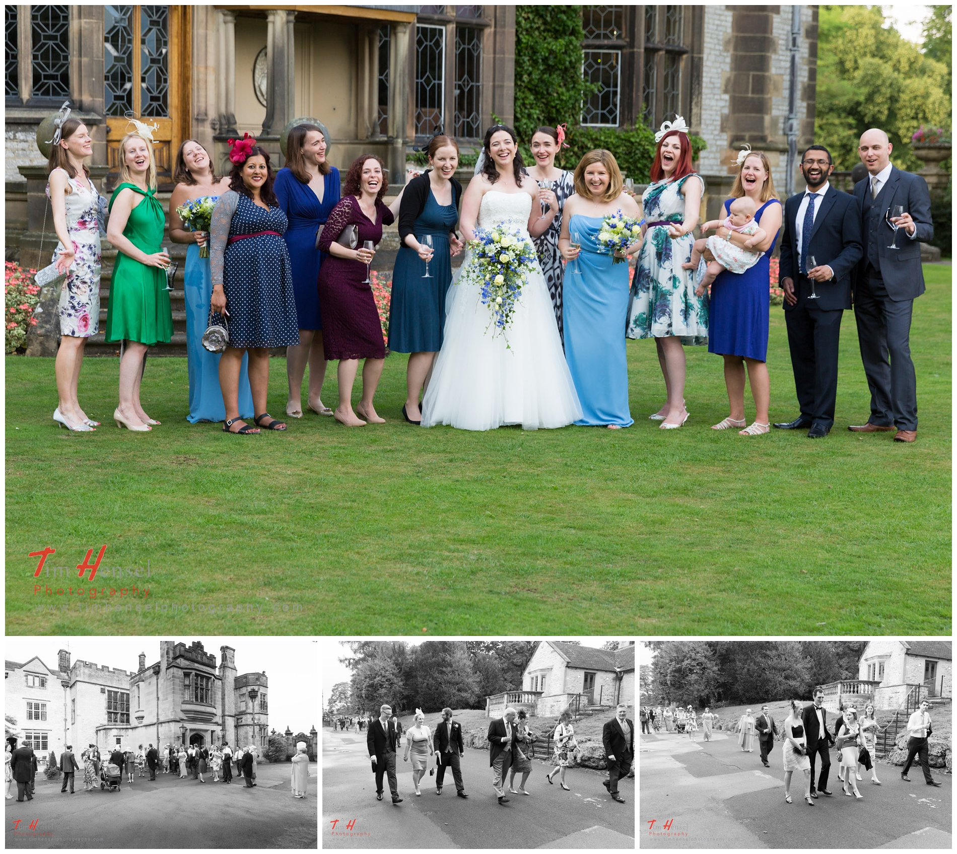 A fun take on group photos and natural shots of guests at thornbridge hall
