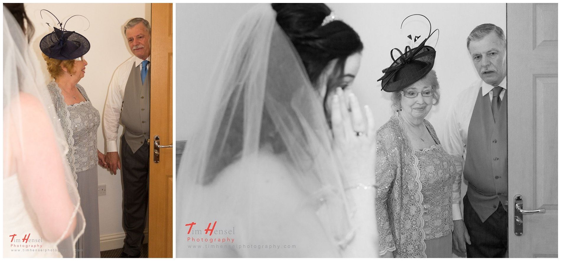 wedding photography in hathersage derbyshire - the bride's parents see her for the first time