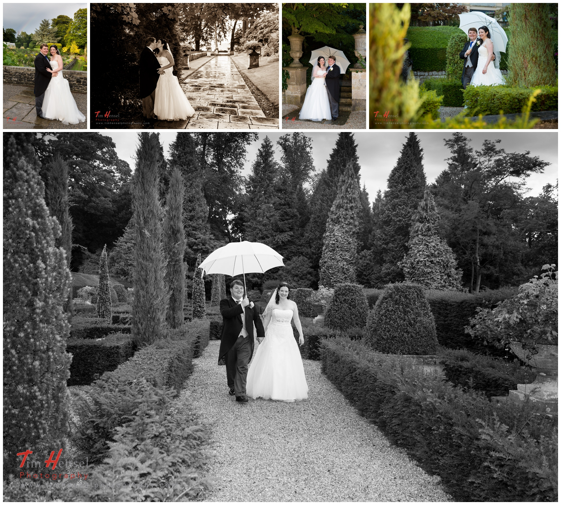 Wedding photography during a walk through the gardens at thornbridge hall