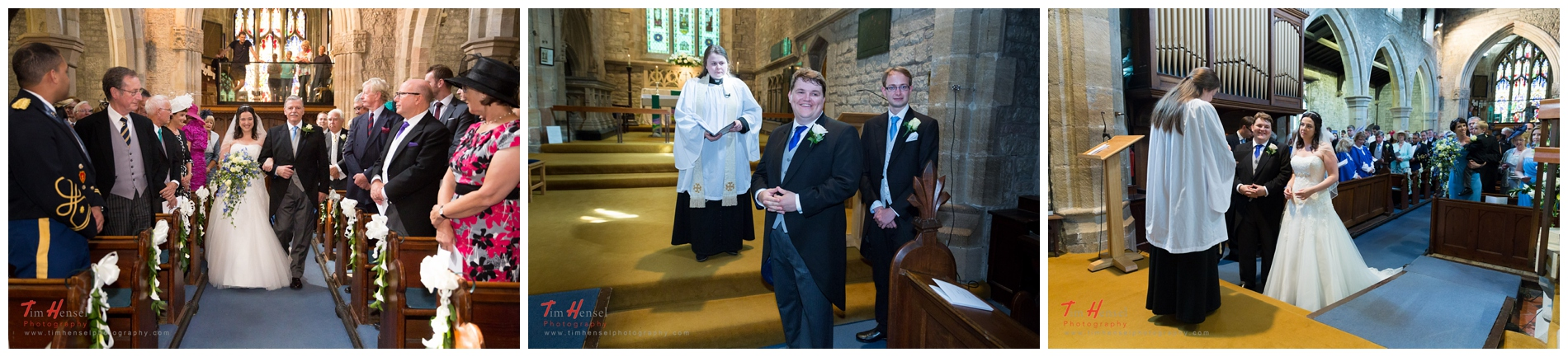 the bride walking up the aisle, the groom waiting, at st michael's church in hathersage