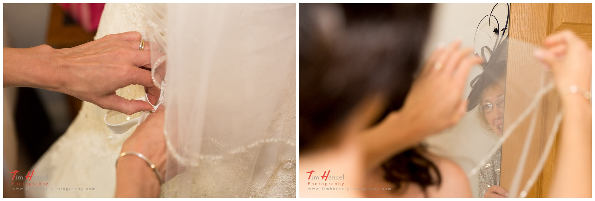 fixing of the veil - creative wedding photographs in derbyshire