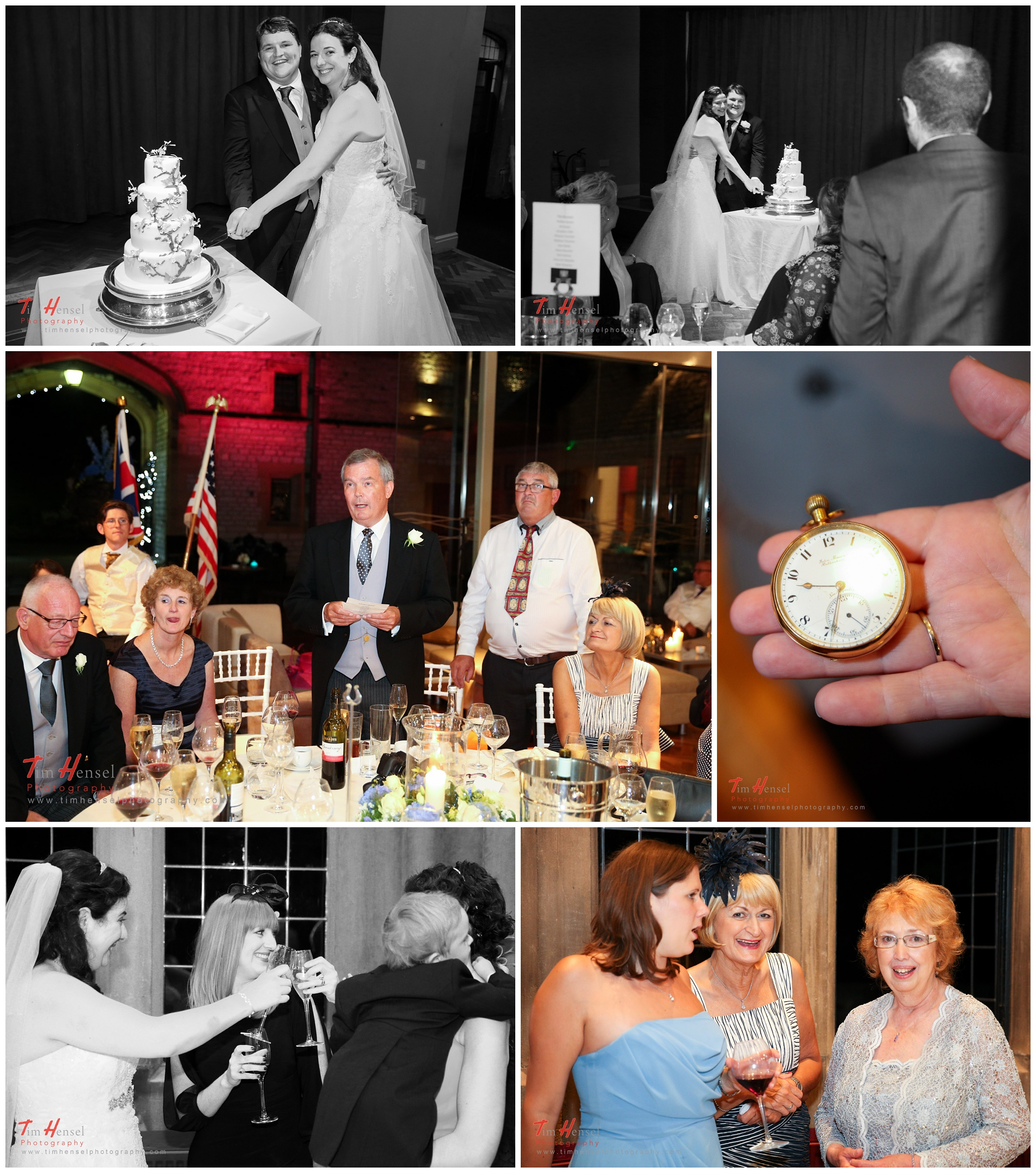 Wedding cake, watch, drinks and partying at thornbridge hall