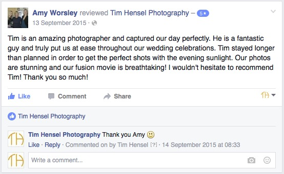 Review of Tim Hensel Photography from a wedding in Kent