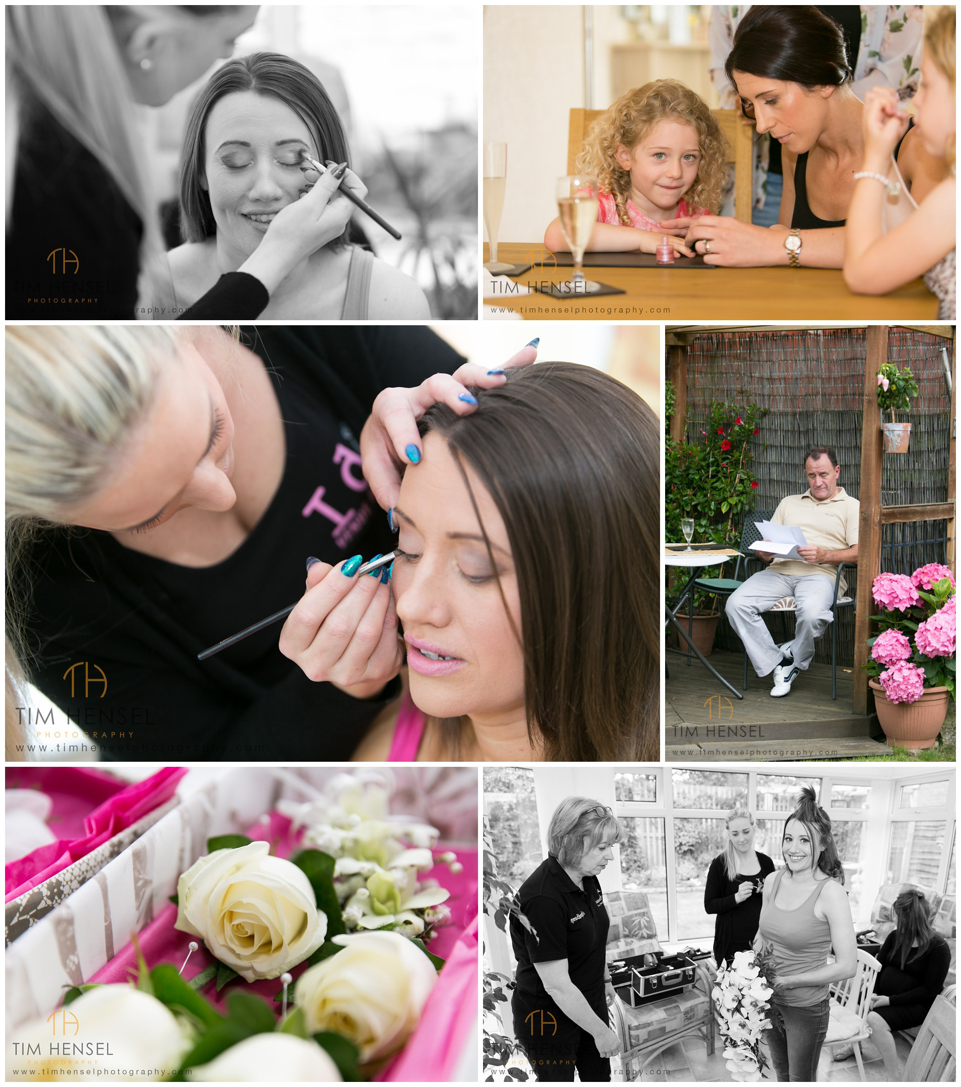 Photographs of the bride preparing for her wedding in Cheshire