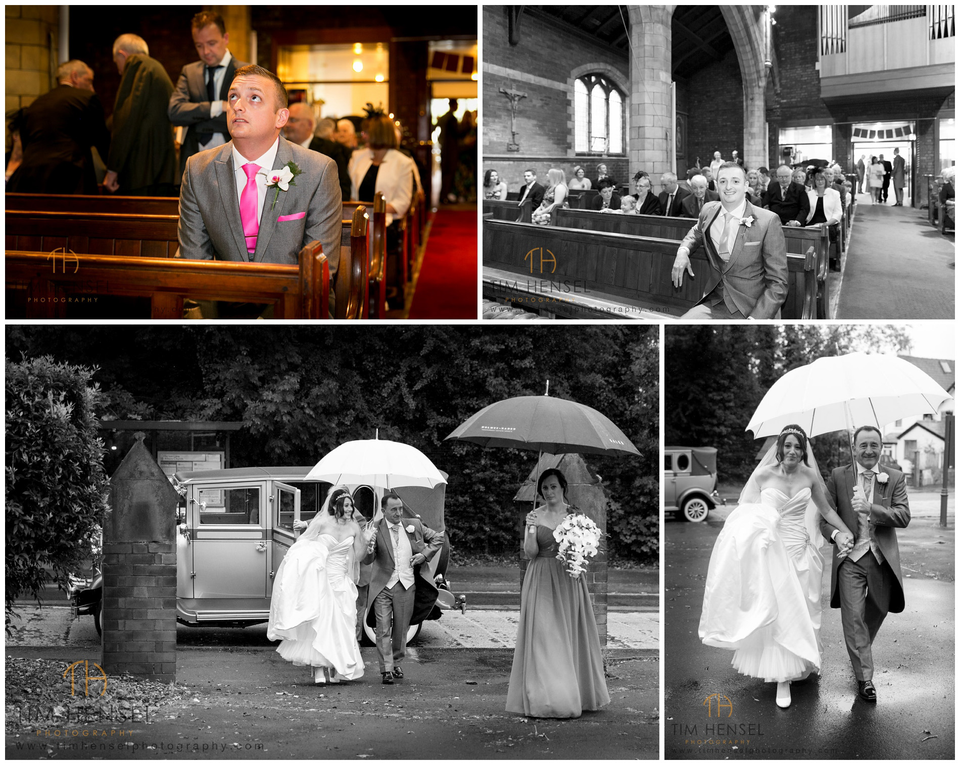 Natural photographs of the bride arriving and the groom waiting, in Cheshire