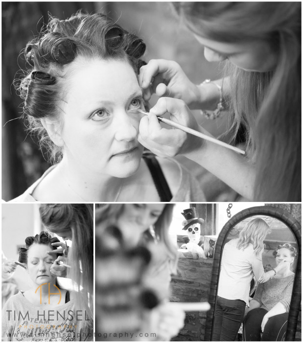 The model brides getting ready for the wedding photography shoot
