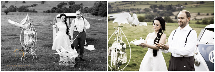 Dove release wedding photographs in the field at Thornsett Fields Farm