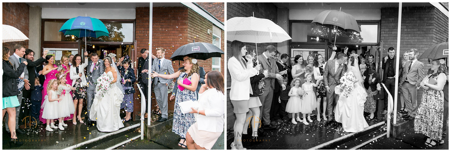 Confetti wedding photographs at St Albans Church, Stockport