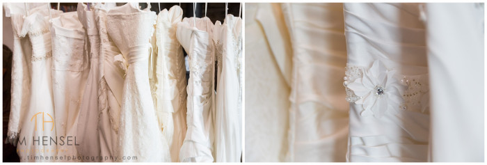 Wedding dresses waiting to be worn in the photo shoot at Thornsett Fields Farm