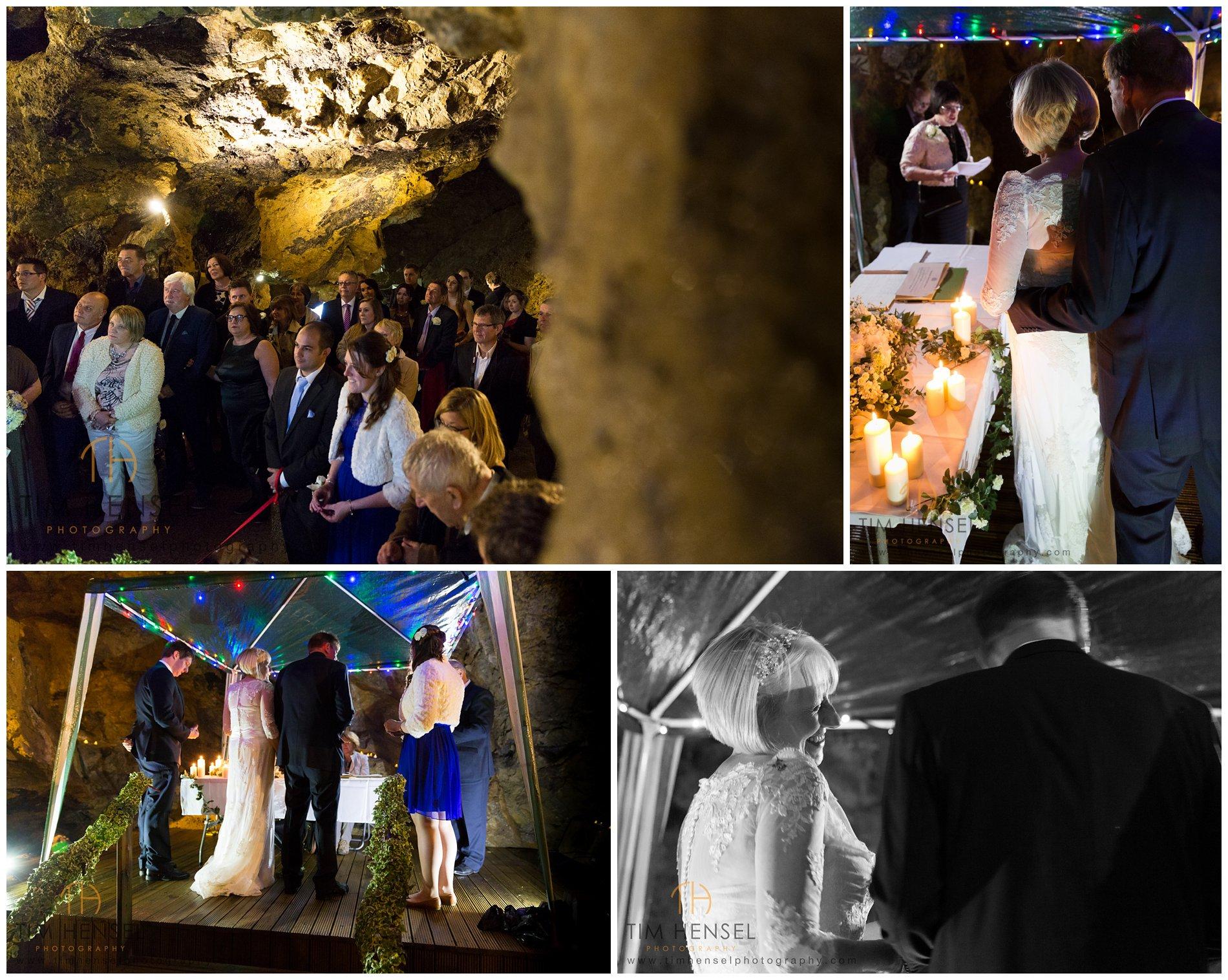 A wedding photographer in Treak Cliff Cavern in Castleton