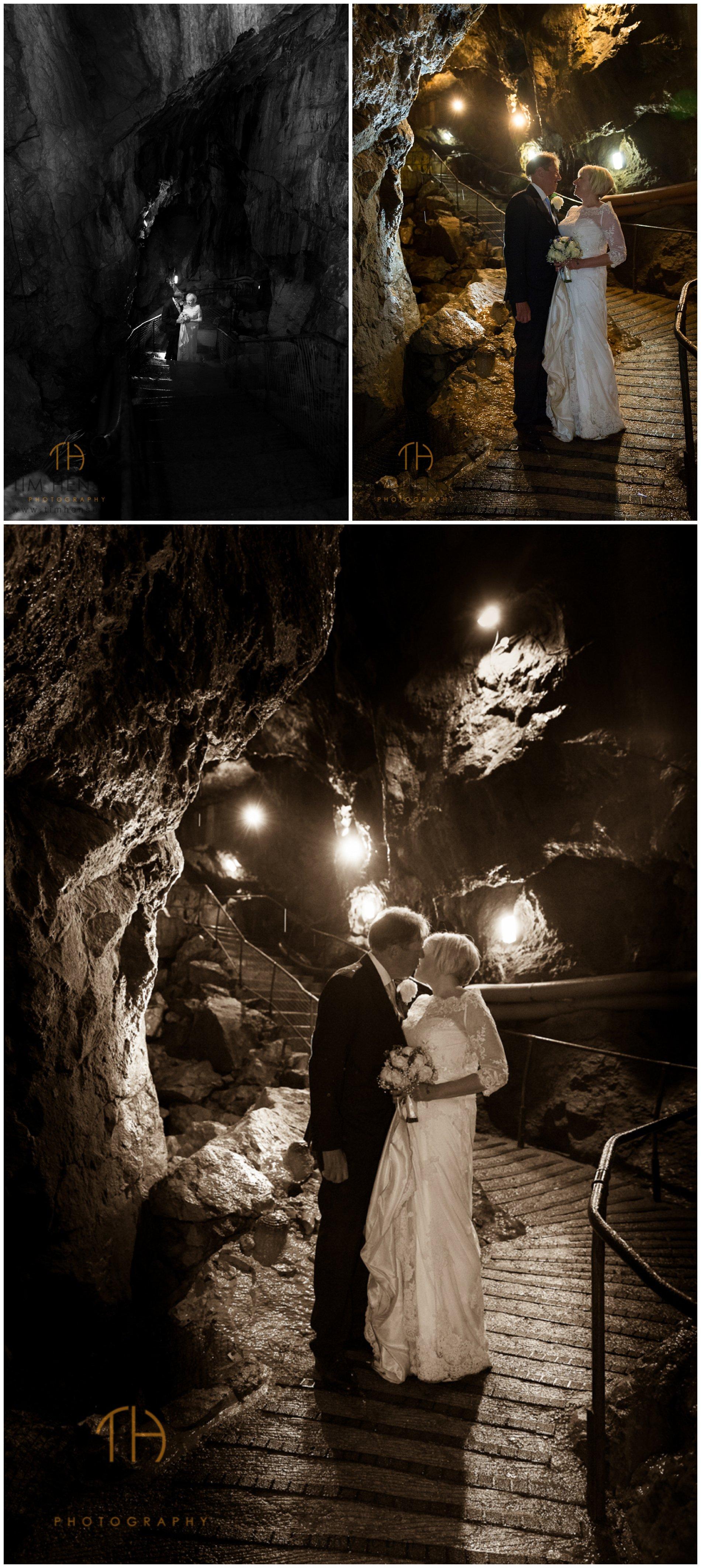 Wedding photos in Treak Cliff Cavern, underground in Derbyshire.
