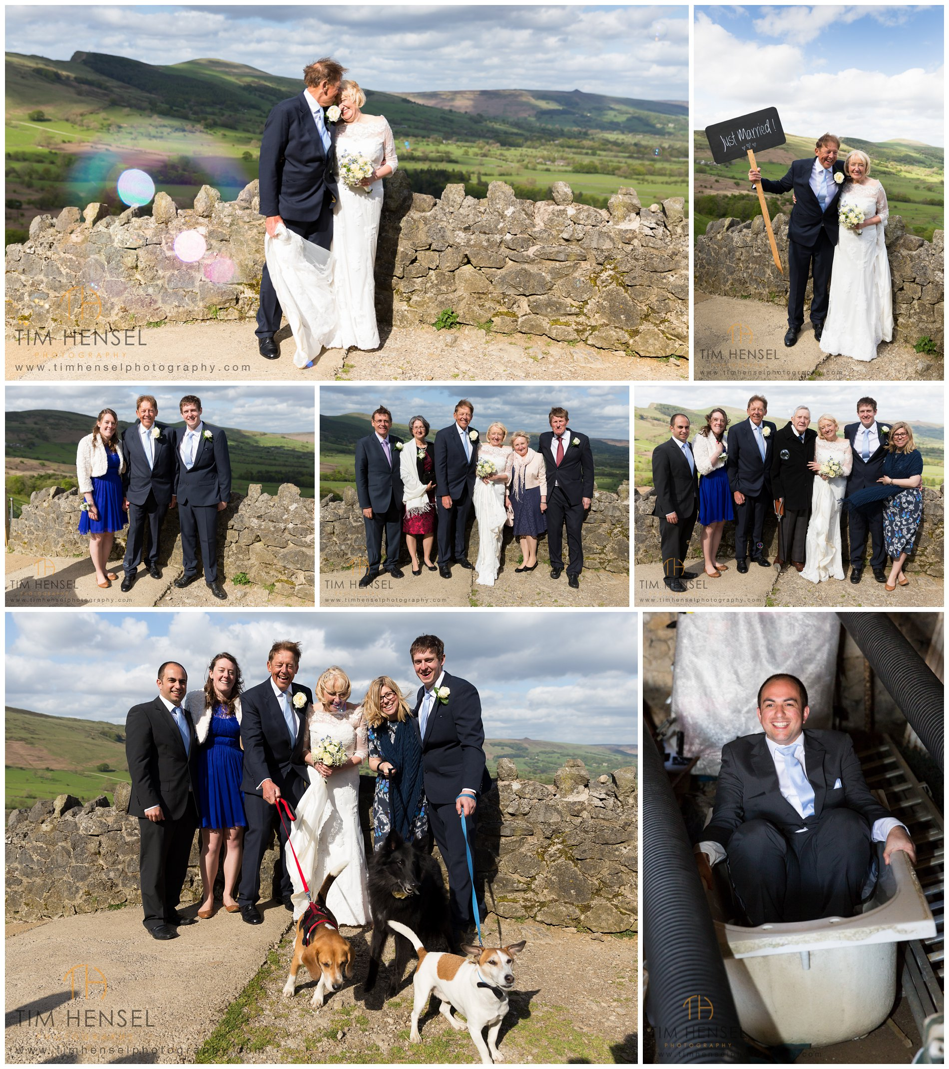 Creative wedding photography group photographs at Treak Cliff Cavern in Derbyshire