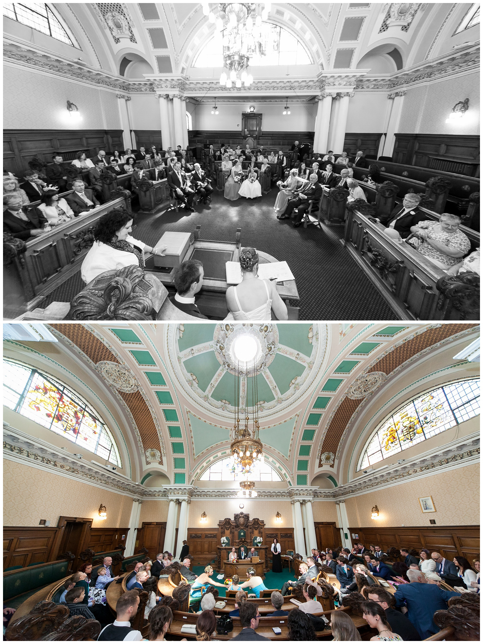 Wedding in the council chamber at Stockport Town Hall.
