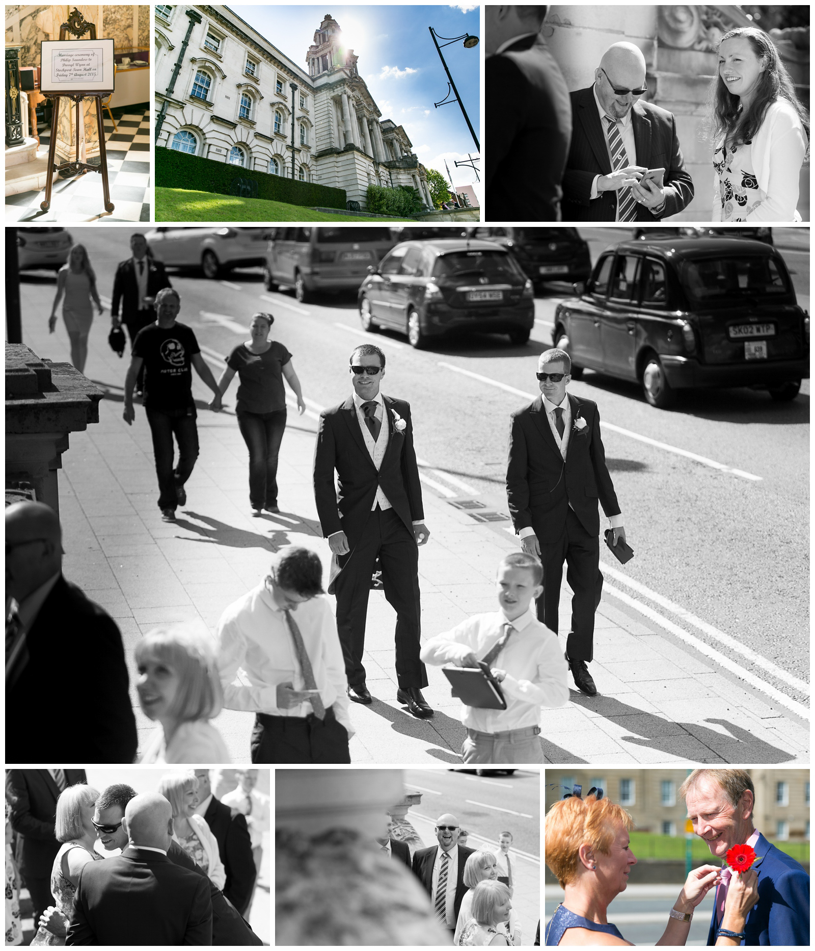 Guest arriving for a wedding at Stockport Town Hall in Cheshire