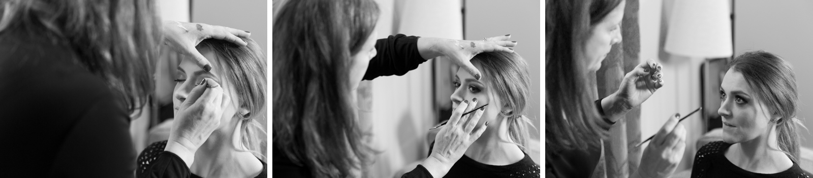 Preparing for the bridal fashion shoot at Hargate Hall near Buxton in Derbyshire