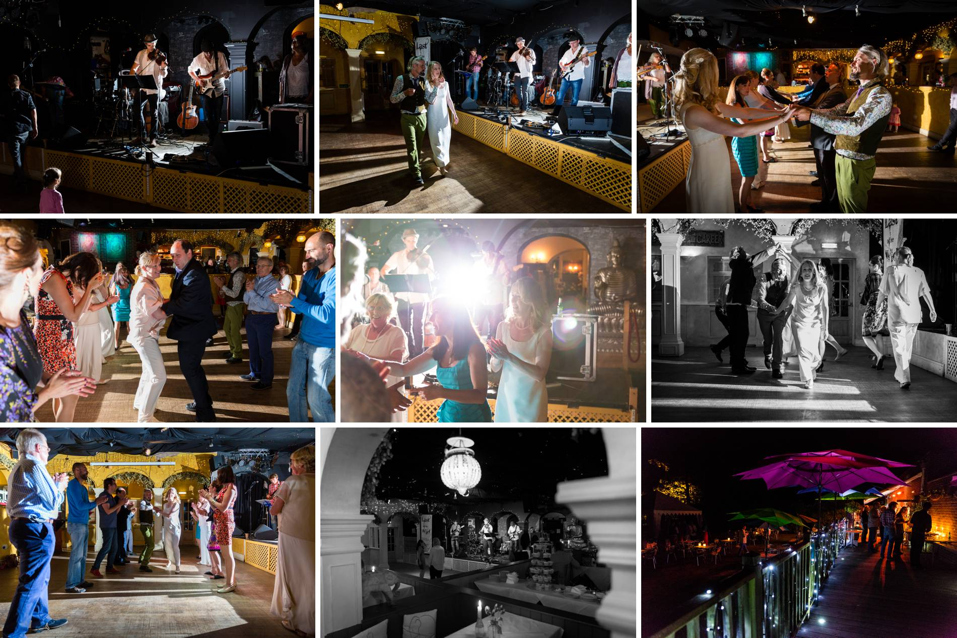 Evening wedding photos of a ceilidh in sussex