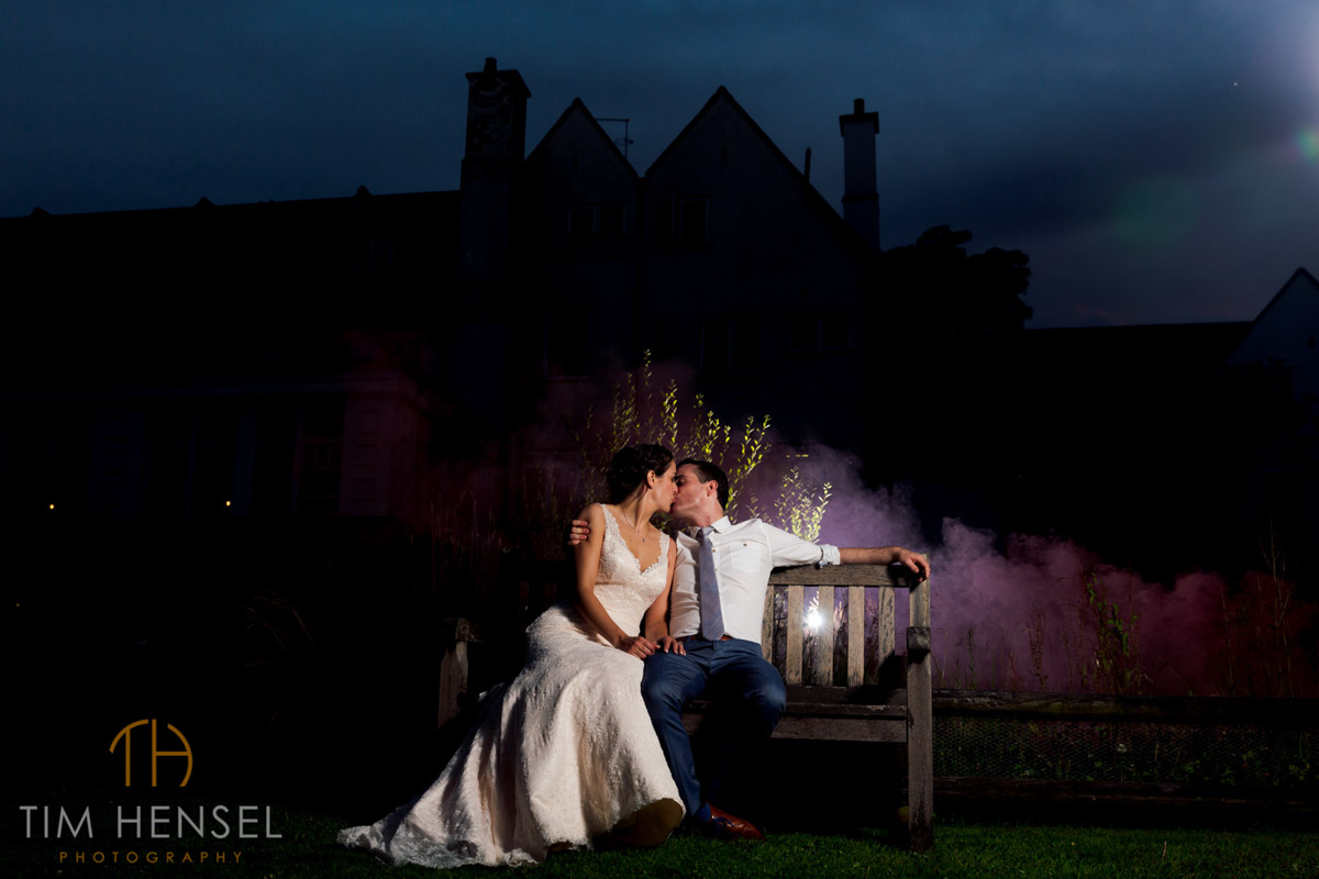 creative wedding photography in kent with smoke bombs