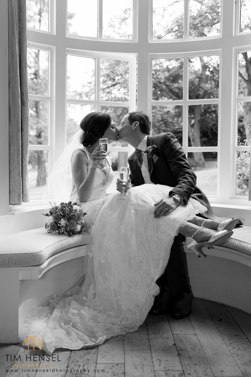 black & white wedding photo in window kent