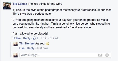 review of wedding photographer