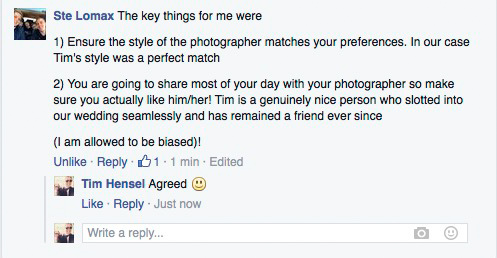 Kent photography Tim Hensel review screenshot taken from Facebook 4