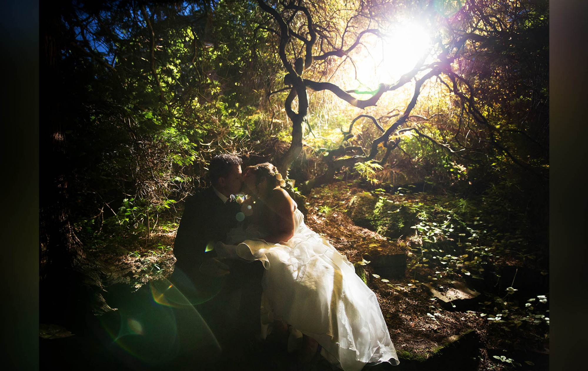 Creative Wedding Photography in Cheshire, in the garden at the Stanneylands Hotel